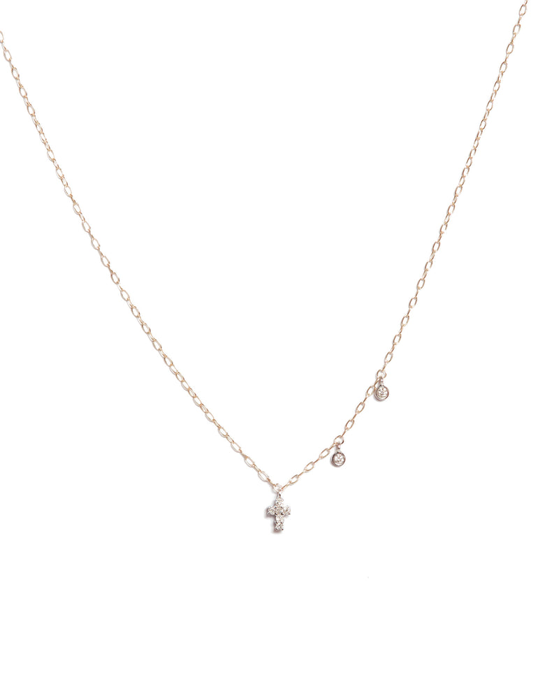 Dainty Diamond Cross Necklace - 14ct Rose Gold