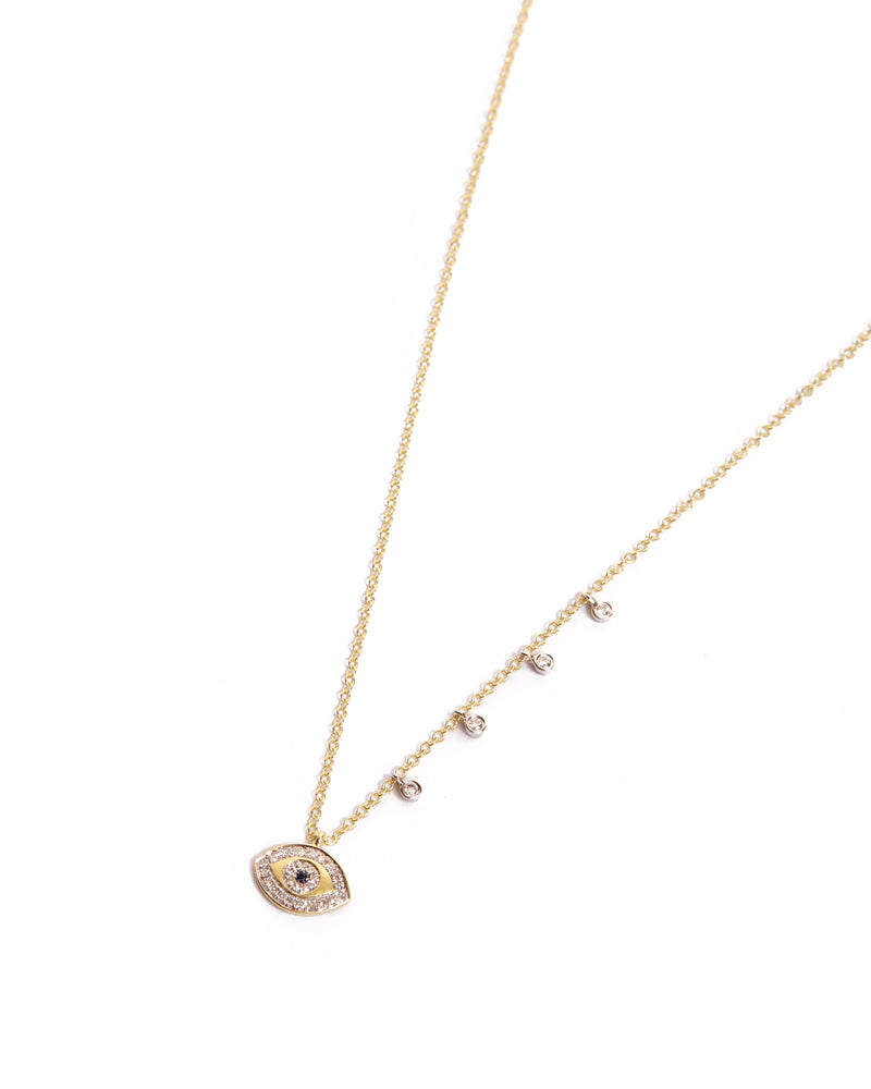 Evil Eye Necklace with Sapphire & Diamonds - 14ct Yellow Gold