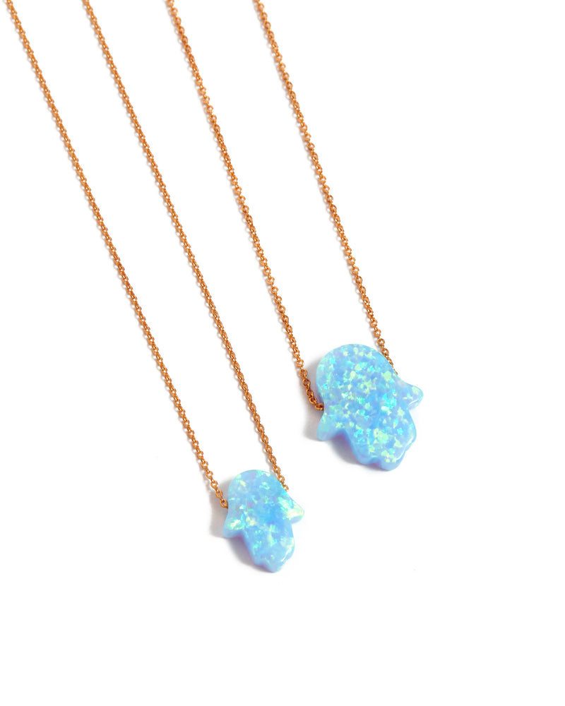 Small Opal Hamsa Hand Necklace Light Blue - 14ct Rose Gold