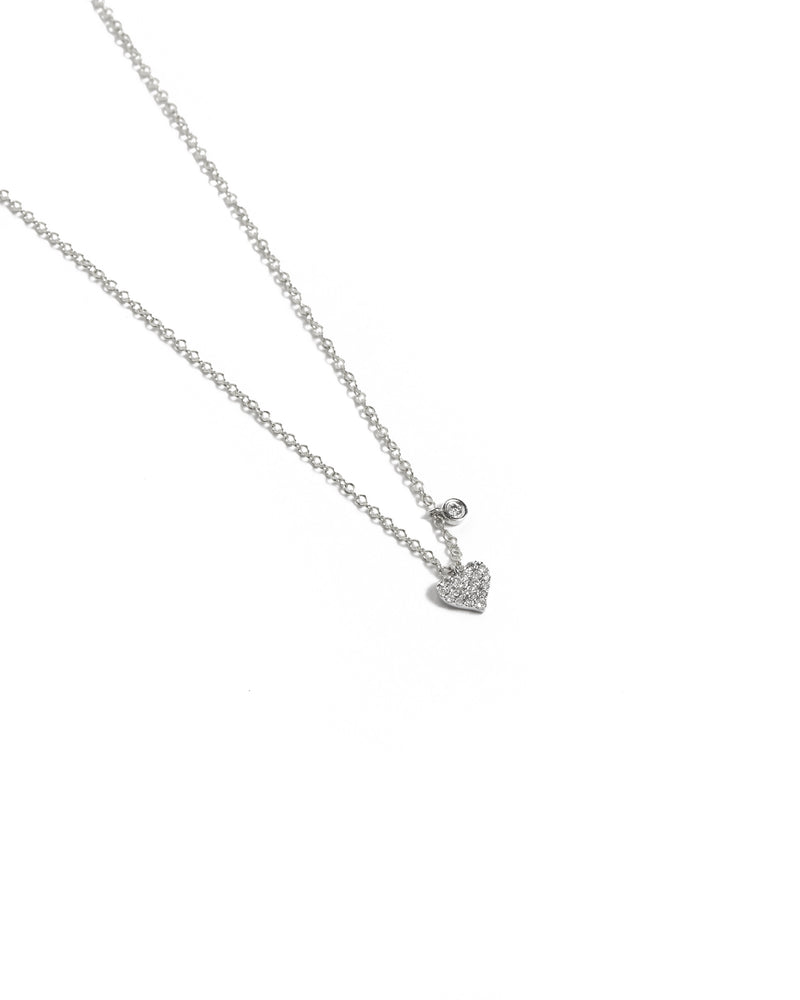 Diamond Heart Necklace - 14ct White Gold