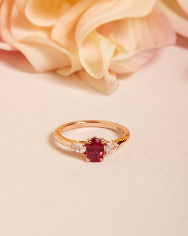 Rosa Ruby & Diamond 3 Stone Ring - 14ct Rose Gold