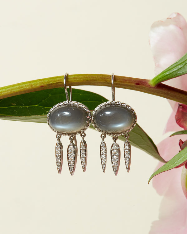 Gaia Grey Moonstone and Diamond Earrings - 14ct White Gold