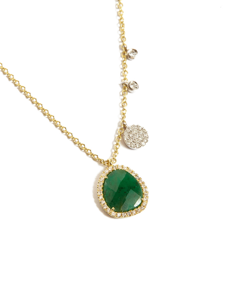 Emerald & Diamond Charm Necklace – 14ct Yellow Gold