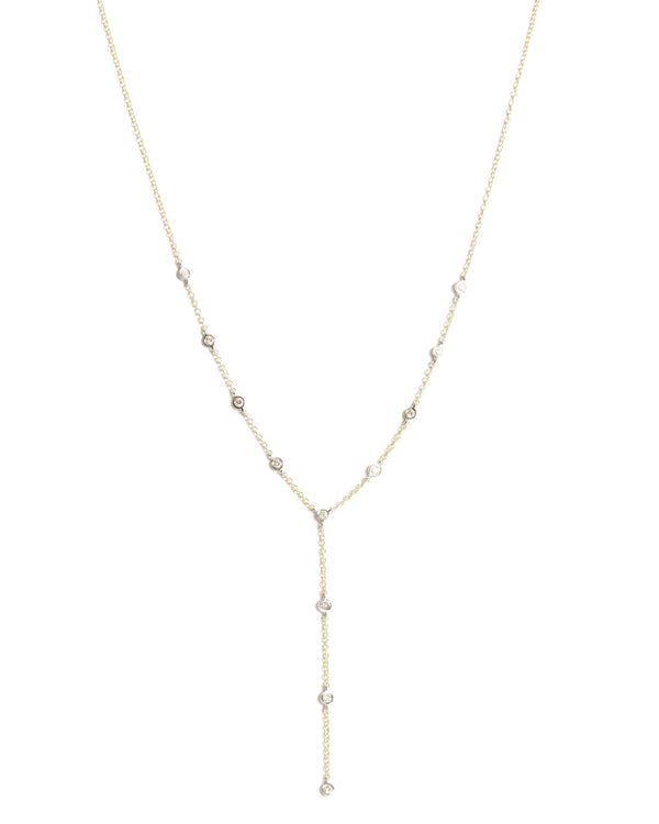 Diamond Lariat Necklace - 14ct Yellow Gold