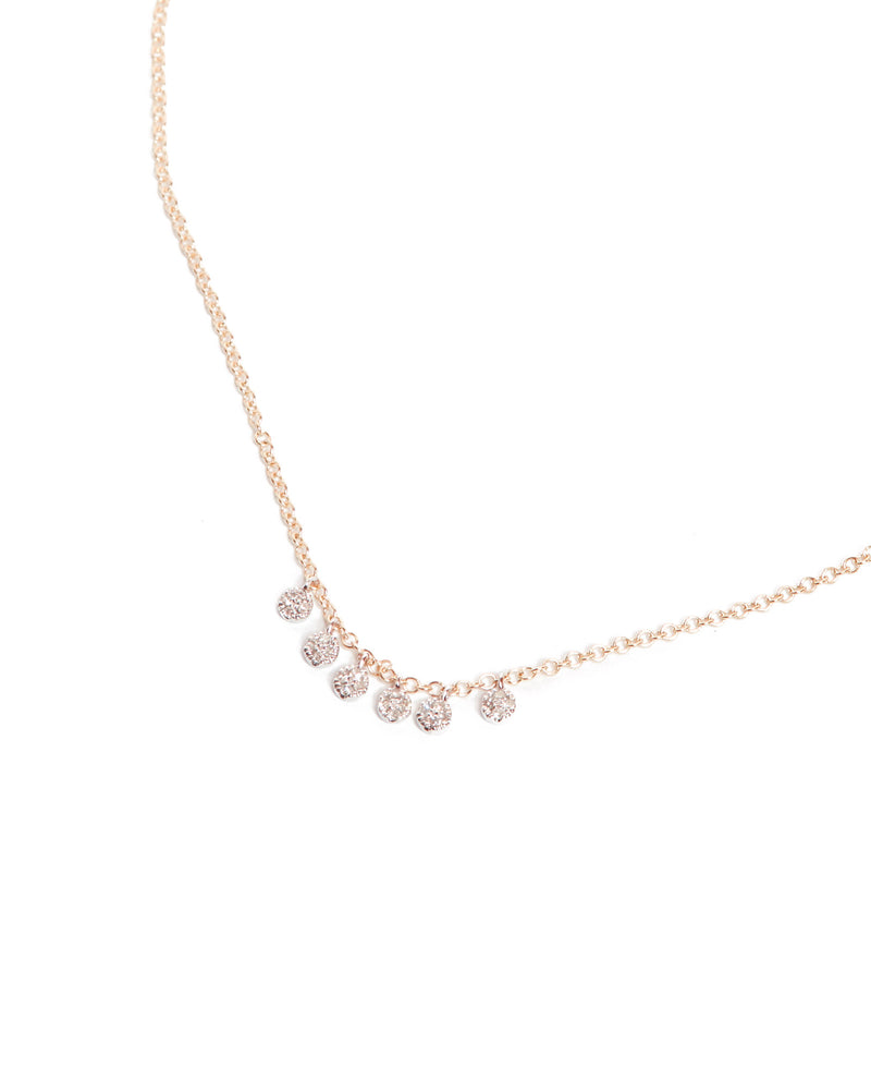 Pave Diamond Charm Necklace - 14ct Rose Gold