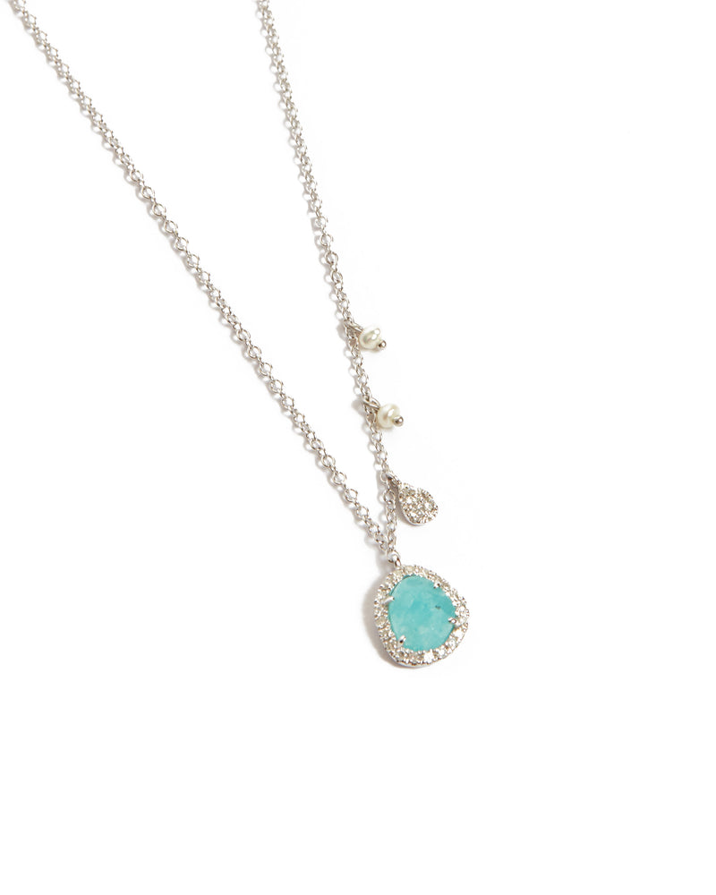 Amazonite and Diamond Necklace - 14ct White Gold