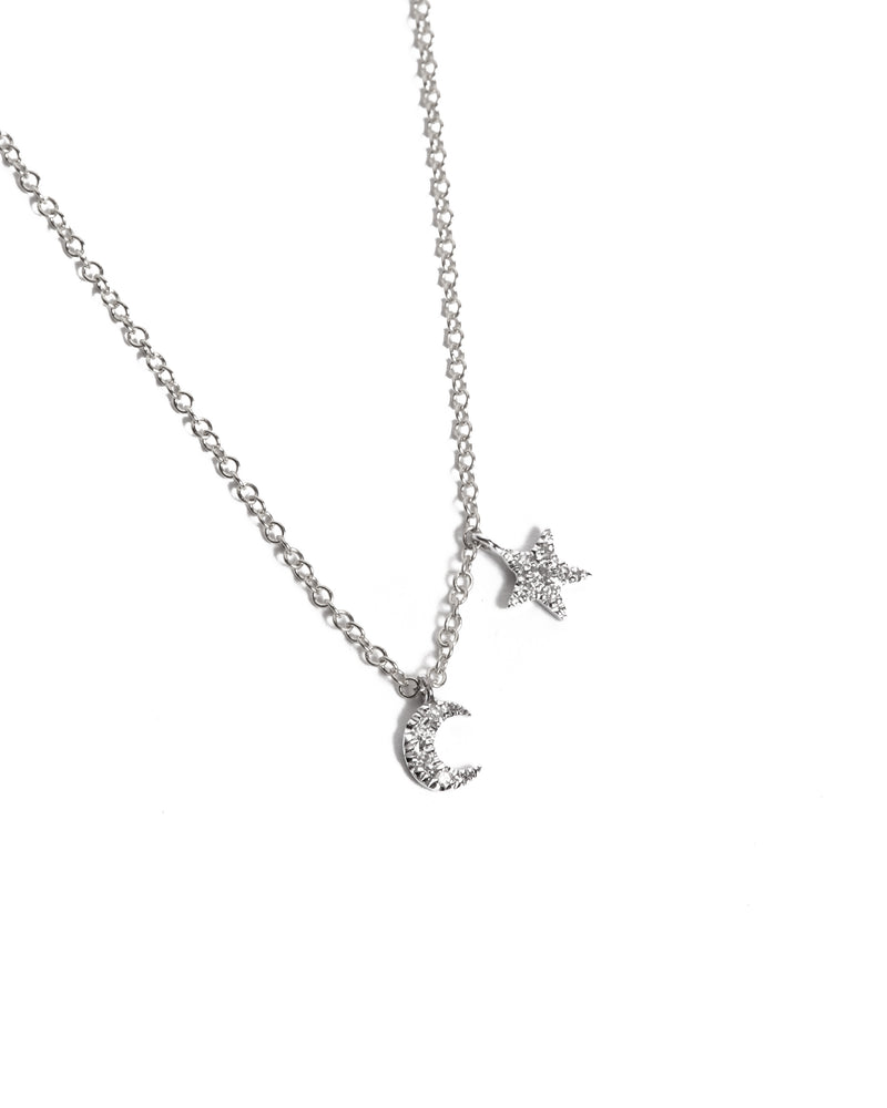 Mini Moon & Star Necklace - 14ct White Gold
