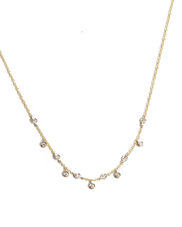 Short Diamond Bezel Drop Necklace - 14ct Yellow Gold