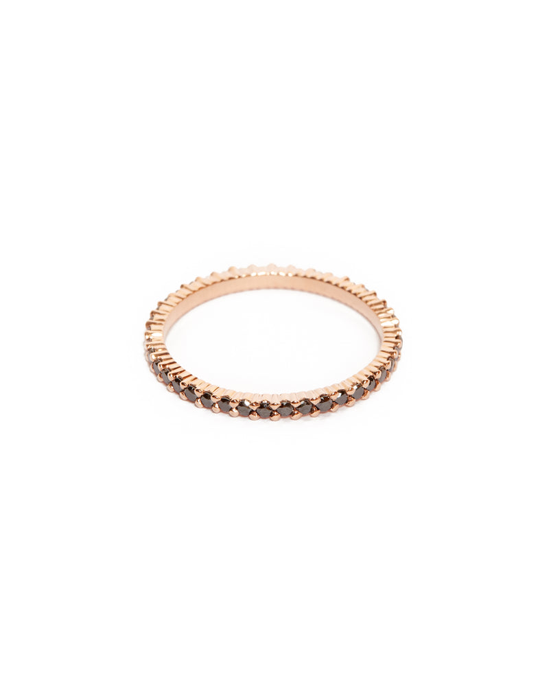 Sia Full Circle Black Diamond Ring - 14ct Rose Gold