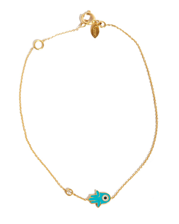 Hamsa Hand Evil Eye Bracelet with Diamond - 18ct Yellow Gold