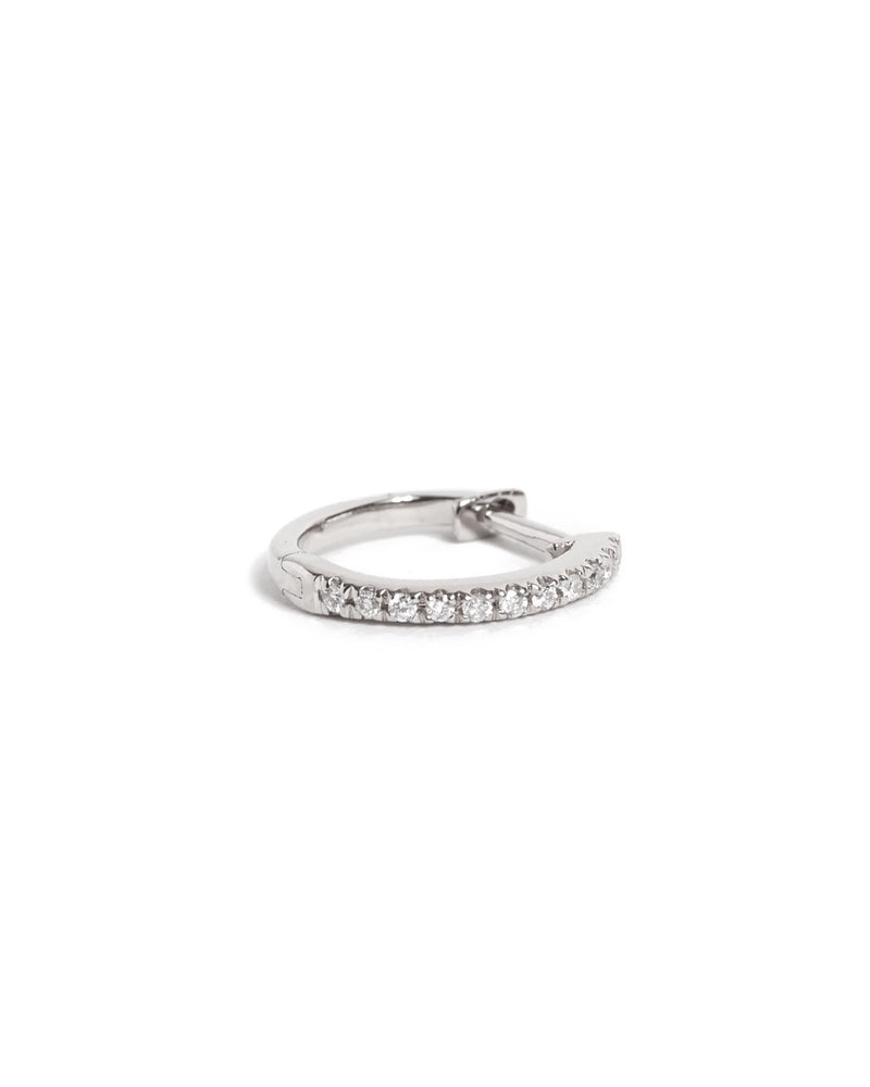 Diamond Huggies Medium - 14ct White Gold