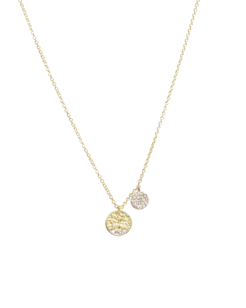 Tree Of Life with Pave Diamond Charm - 14ct Yellow Gold