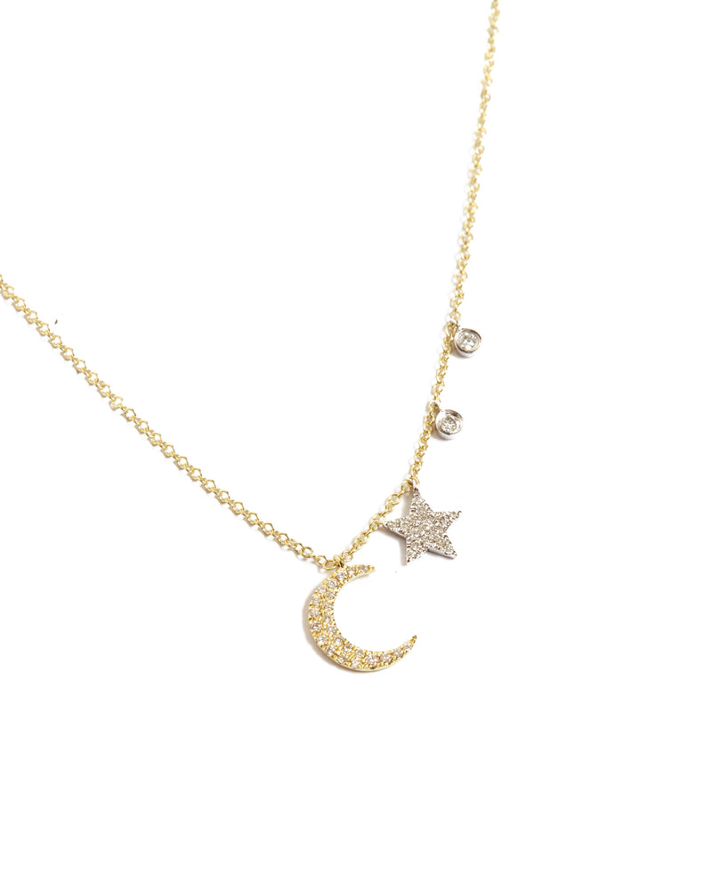 Diamond Moon & Stars Necklace - 14ct Yellow Gold
