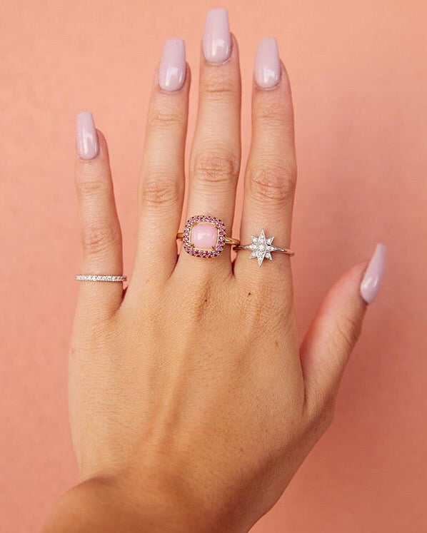 Pink Opal Pave Roll Ruby Ring