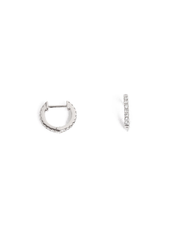 Diamond Huggies Small - 14ct White Gold