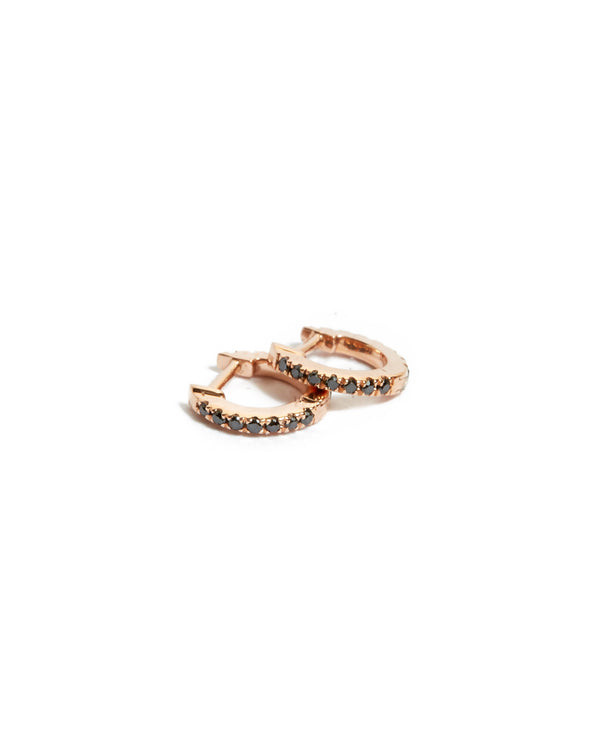 Black Diamond Huggies Extra Small - 14ct Rose Gold