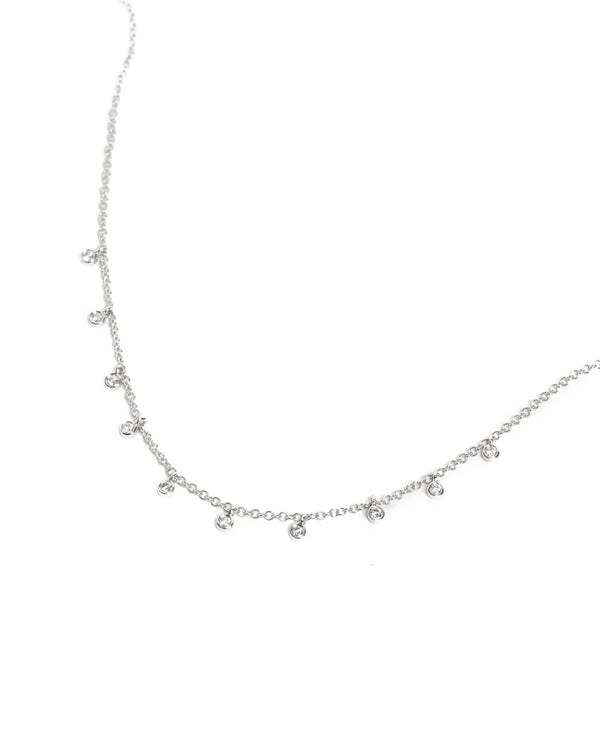 Gold Necklace with 10 Diamond Bezels - 14ct White Gold