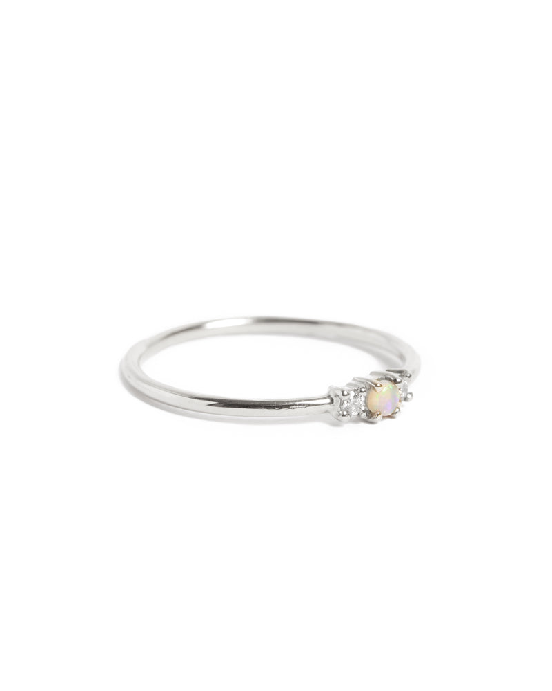 Jupiter Opal & Diamond Ring - 9ct White Gold