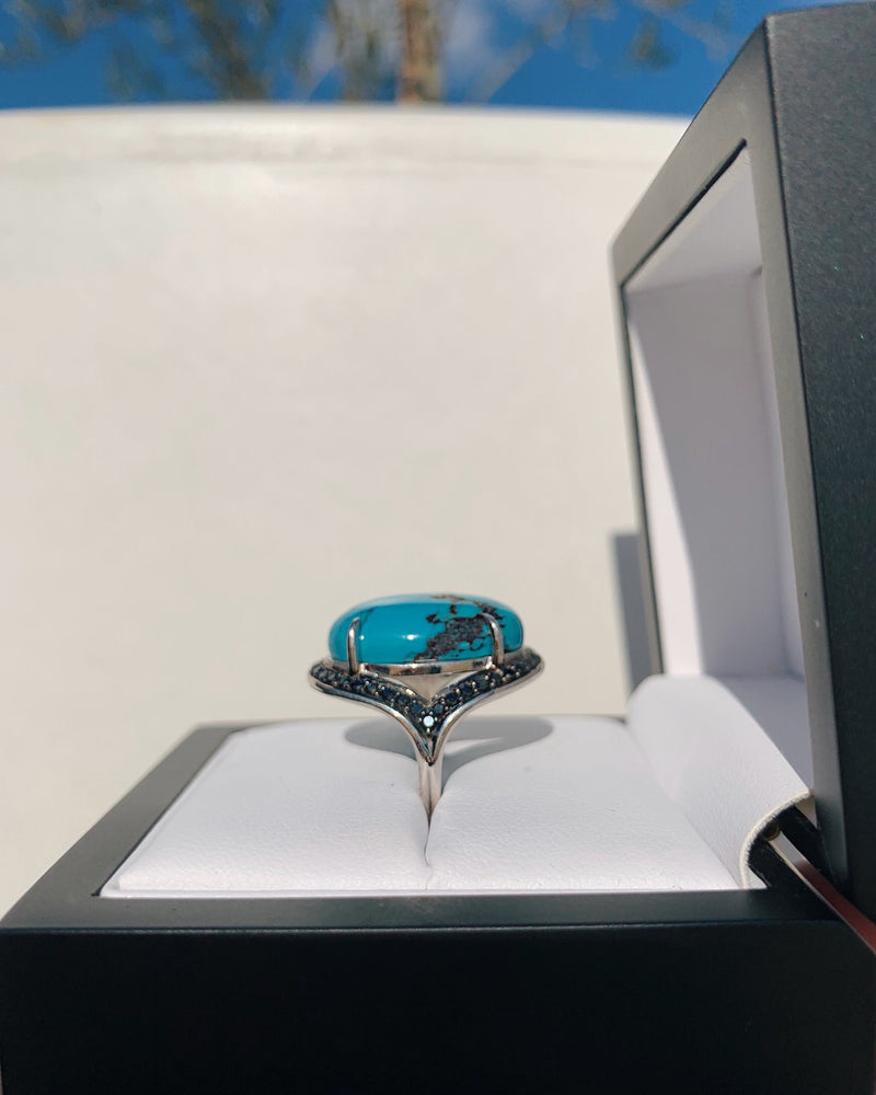 Turquoise & Black Diamond Ring - 9ct White Gold