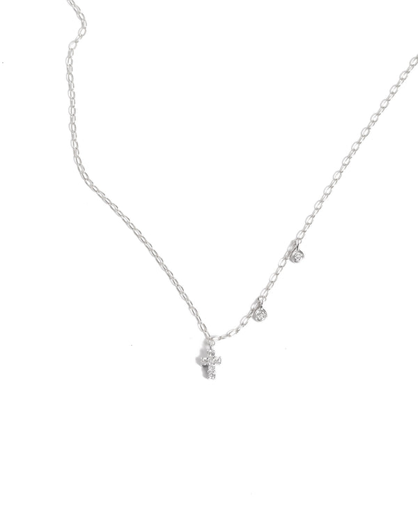 Dainty Diamond Cross Necklace - 14ct White Gold