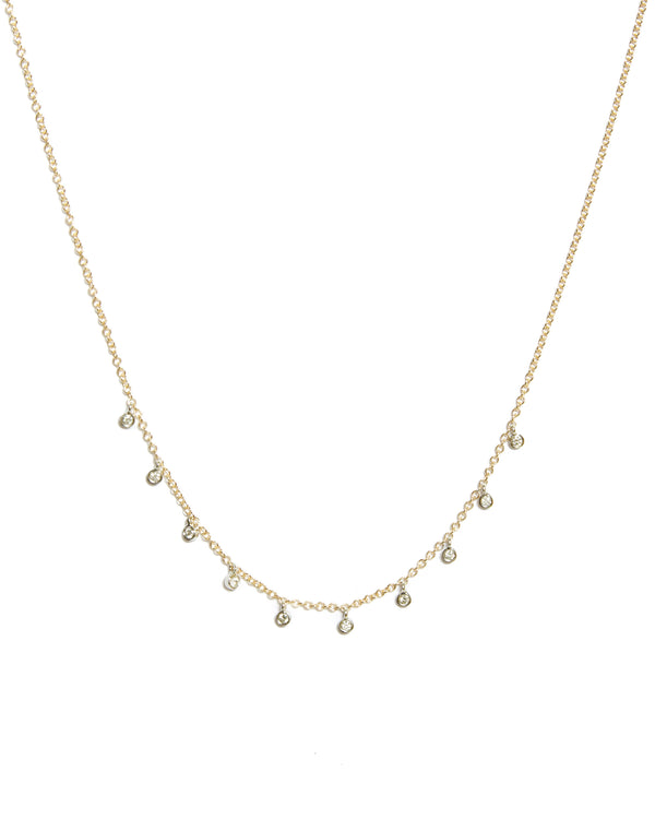 Gold Necklace with 10 Diamond Bezels - 14ct Yellow Gold