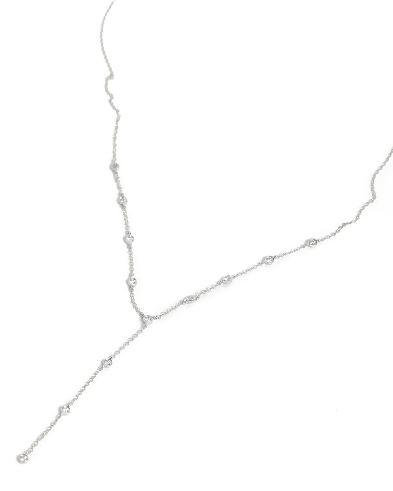 Diamond Lariat Necklace - 14ct White Gold