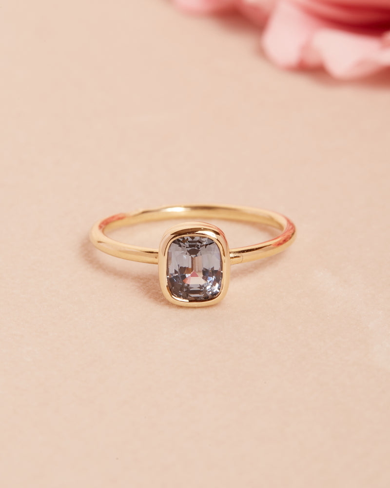 Storm Grey Spinel Solitaire - 14ct Gold