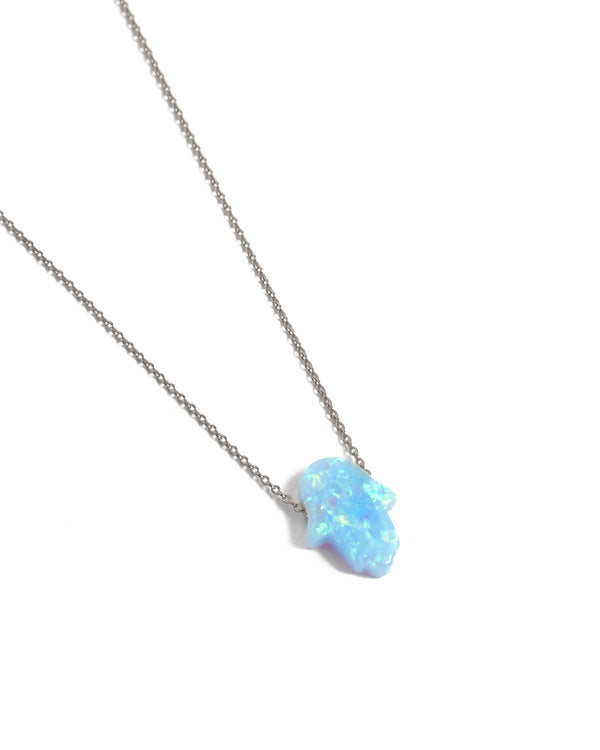 Small Opal Hamsa Hand Necklace Light Blue - 14ct White Gold
