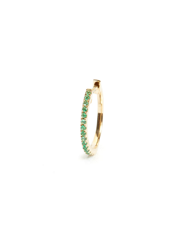 Emerald Huggie Large - 14ct Gold