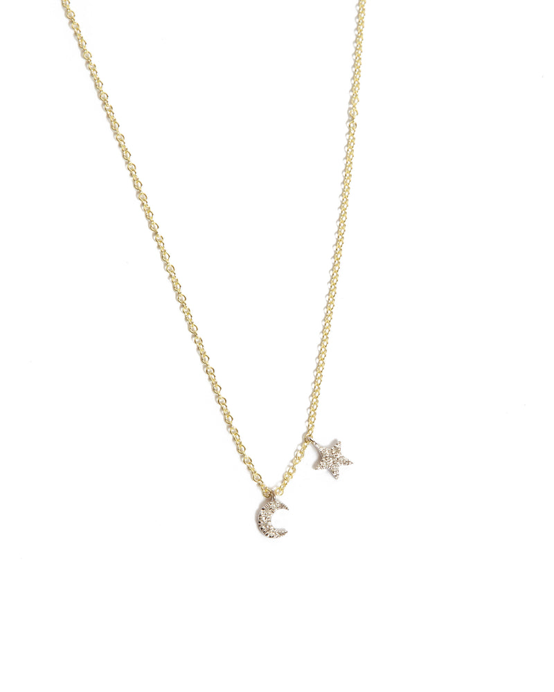 Mini Moon & Star Necklace - 14ct Yellow Gold