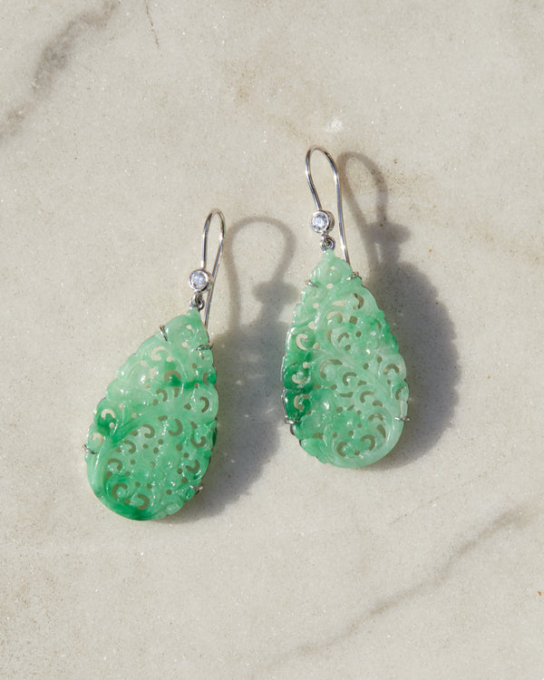 Moana Jade and Diamond Earrings
