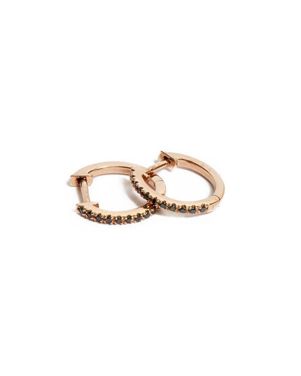 Black Diamond Huggie Medium - 14ct Rose Gold