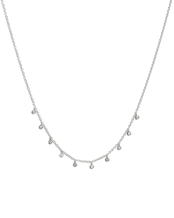 14k Gold Necklace with 10 Diamond Bezels - 14ct White Gold