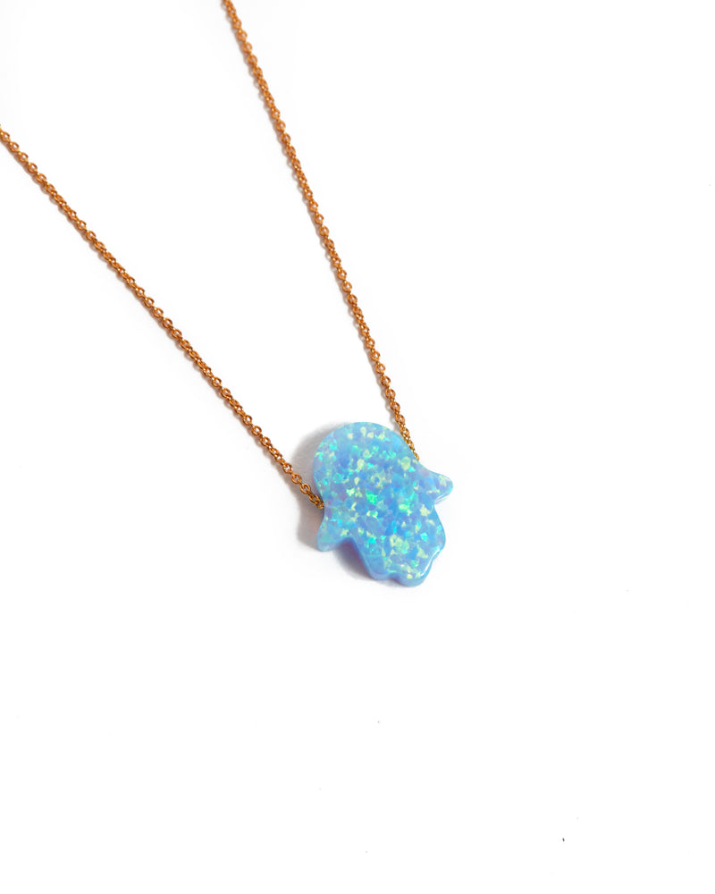 Large Opal Hamsa Hand Necklace Light Blue - 14ct Rose Gold