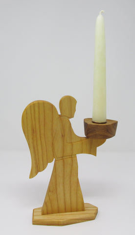 Angel Candle Holder with Ivory 100% Beeswax Candle
