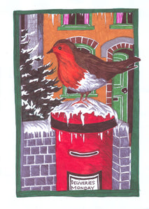 Christmas Card, Robin on a Post Box