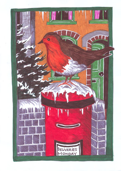 Christmas Card, Robin on a Postbox and Christmas Candle