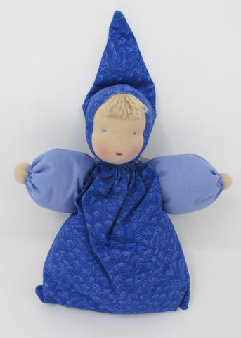 Waldorf Babette Doll, Blue  Print Fabric