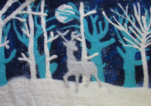 SALE 50% off at Checkout - Christmas Card, Felt Deer
