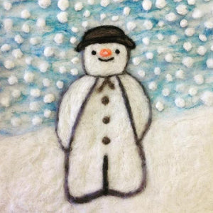 SALE 50% off at Checkout - Christmas Card, Felt Snowman