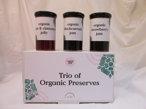 Hamper, Sweet Trio of Preserves, Blackcurrant, Strawberry, Apple and Cinnamon