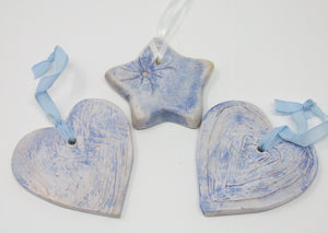 Christmas Decoration, Ceramic set of Two Hearts and a Star, Blue