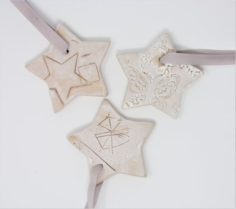 Christmas Decoration, Ceramic set of Three Stars, Natural