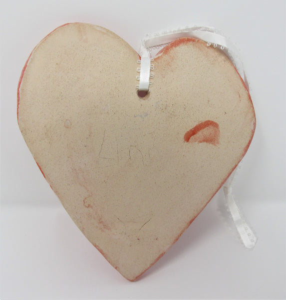 Ceramic Heart Hanger, Red Crackle