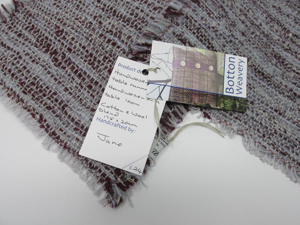 Table Runner, Soft Grey and Maroon