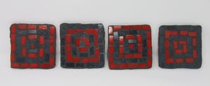Mosaic Coasters, Abstract Grey and Red Set of Four