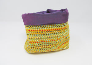 Woven Pouch, Yellow and Purple