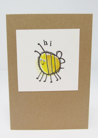 Card, Single Hand-made Botton Bee Design