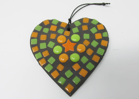 Heart Hanger, Orange and Green