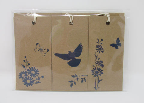 Gift Tags, Set of Six on Recycled Paper Blue or Green